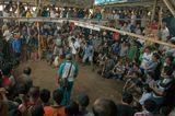 """Из серии """"В логове азарта и страстей""""Нелегальные петушиные бои на денежные ставки в индонезийской глубинке. Бойцовым петухам привязывают красными нитками острые ножи-шпоры, с помощью которых они бьются на смерть."""