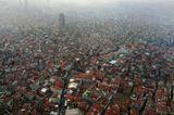 Над Стамбулом, над Константинополем. Метров около 300.