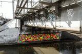 Мост, река, граффити, солнце