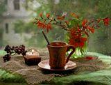 натюрморт, кофе, дождь, цветы