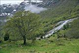 И снова - Норвегия. Справа - очень-очень быстрый, но мелкий горный водопад.