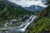 Алтай, Катунский хр., р.Б.Калагаш, водопад