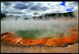 Так называется озеро в геотермальном парке Уаи-О-Тапу. Названием обязано углекислому газу, которым насыщена вода. Поднимаясь из-под земли, вода образует пузырьки, подобно шампанскому в бокале. Из-за высокой концентрации полуметаллов края озера окрашены в яркий оранжевый цвет. Образовалось это чудо природы 900 лет назад в результате геотермального извержения, породившего кратер диаметром 65 и глубиной 62 мНов. Зеландия, Северн.остров. Апрель 2015
