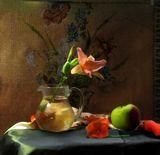 натюрморт, цветы, фрукты, стекло, посуда