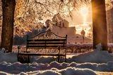 Зима сильный мороз контровой свет