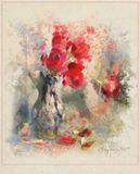 chaparin.v.p., ваза, имитация акварели, натюрморт, тюльпаны, цветы