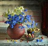 chaparin.v.p., васильки, крыжовник, лето, натюрморт, цветы, ягоды