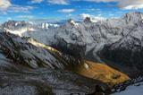 вид с перевала (3650), вершины Уллутау, Курмачи, Гумачи, Джантуган, Башкара, Уллукара, Кавказский хребет ...