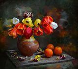 chaparin.v.p., апельсины, иваново, крынка, натюрморт, тюльпаны, цветы