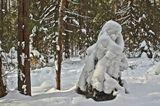 Снежная баба в зимнем лесу, в шубе. Смотрит направо. Творение природы.