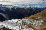вид с перевала ВЦСПС (3650м), вершина Накратау (4300м), ледник Кашка-таш, Кавказ...