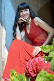 Портрет, цветы, дача, красное, красота