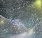 Рождество,город,трамвай,ночь