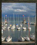 Вид на Женевское озеро из замка Морж,Швейцария