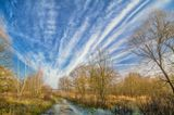 Осень, дорога, небо, облака