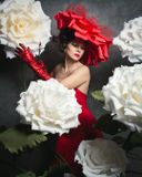 Девушка, цветы, портрет