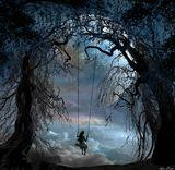 Качели сюрреализм луна море Ночь Прибой