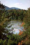 Пейзаж, озеро,Чехия,верхняя точка съемки,природа,лес,горы,горное озеро,ранняя осень
