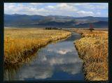 Горная речка, шумная и непокорная в горах и такая спокойная, когда вырывается на степной простор... Осеннее утро. На траве иней. Оронгойская степь. Бурятия.